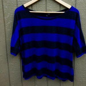 Forever XXL Blue & Black Short Sleeve Top -Size L